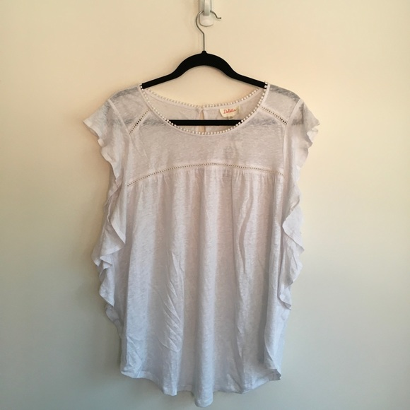 Anthropologie White Linen Shirt Medium